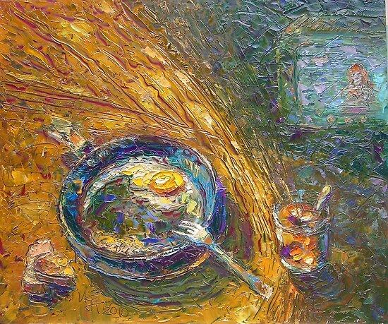 Happy Bachelor's Dinner / 2010 / oil on glass by Ivan KRUTOYAROV