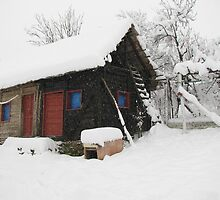 Our Barn in Romania Getting it's Winter Coat by Dennis Melling