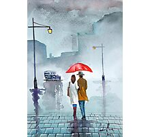Rainy day red umbrella watercolour painting Photographic Print