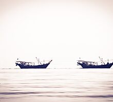 Fishing boats returning home, Kuwait by NicoleBPhotos