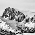 Black and white wide Dolomites mountain  by Francesco Malpensi