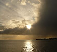 Sandy sunburst at Clacton Pier by dustyparasol