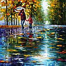 Stroll In An Autumn Park - original oil painting on canvas by Leonid Afremov by Leonid  Afremov
