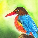White Throated Kingfisher --- watercolor on canvas by Tridib Ghosh