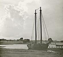 Schooner Bloomer in Barnstable Harbor by sturgislibrary