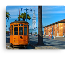 Old San Francisco Cable Car And Ferry Building Canvas Print