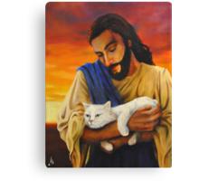 Jesus & cat Canvas Print