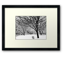 snowy winter day, bronx, new york city Framed Print