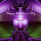 Happy Valentines Day heart fractal by Julie Everhart