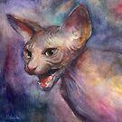 Sphynx Cat hissing painting Svetlana Novikova by Svetlana  Novikova