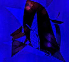 Blu-Black Abstract by Ladydi