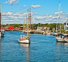 Boat traffic on the Connecticut River, Mystic Ct. USA. by RGHunt