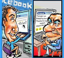 facebook vs Mubarek by Londons Times Cartoons by Rick  London