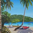 Trunk Bay Boats St John U.S.V.I. by Matthew Campbell