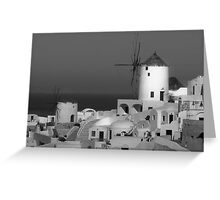 Windmills of Santorini ~ Black & White Greeting Card