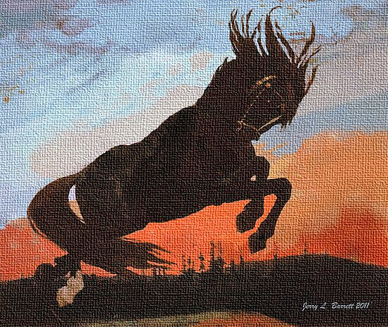 Leaping Black Stallion by Jerry L. Barrett