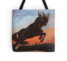 Leaping Black Stallion Tote Bag