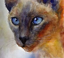 Watercolor Siamese Cat painting #2 Svetlana Novikova by Svetlana  Novikova