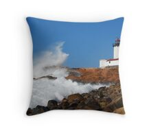 Wave Breaks on Eastern Point Light - Gloucester Throw Pillow
