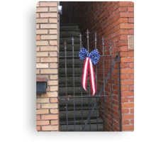 Old Iron Gate and US Flag Banner Canvas Print