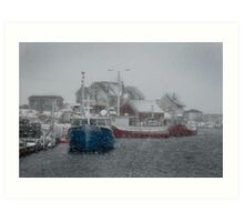 Peggy's Cove in a Snow Storm Art Print