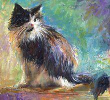 Impressionistic Tuxedo Cat painting Svetlana Novikova by Svetlana  Novikova