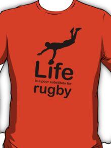 Rugby v Life - Black Graphic T-Shirt