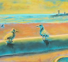 Gull Talk (pastel) by Niki Hilsabeck