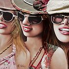 """Three Glam Girls"" Mixed Media Portrait Painting by mozzyhales"