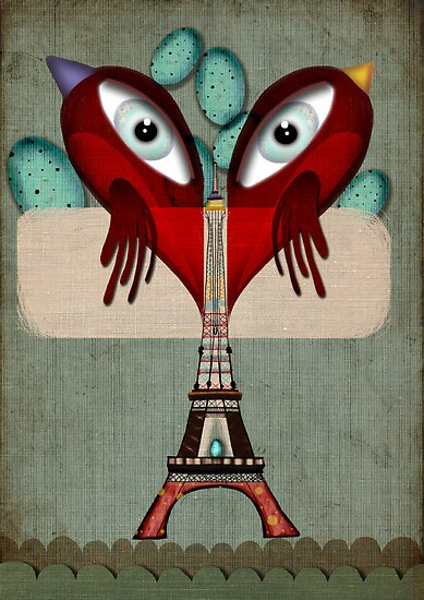 Paris Love Collection Eiffel Tower Birds in love by Ruth Fitta-Schulz