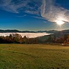 Sunrise Over Ludlow Fog by Joe Jennelle