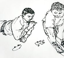 Boys sketching (detail 2) by steflaff