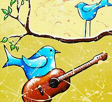 Blue Bird Painting Original Whimsical Folk Wall Art - Romeo and Juliet by hjmart
