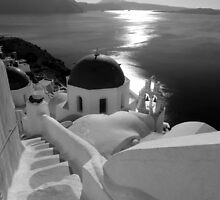 Santorini, Greece  ~ Black & White by Lucinda Walter