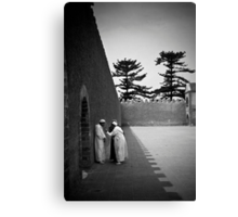 Conversation in a Town Square Canvas Print