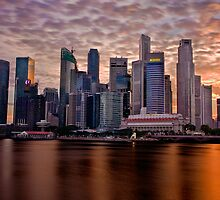 Singapore City, Financial District, Sunset by Gareth Spiller