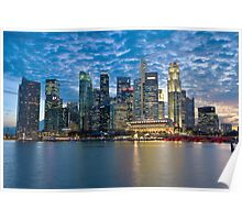 Singapore City, Financial District, Marina Bay, Sunset Poster