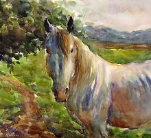 Watercolor Horse painting Svetlana Novikova by Svetlana  Novikova