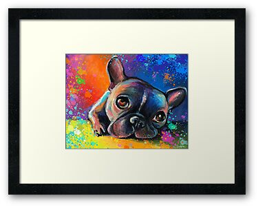 Whimsical French Bulldog painting Svetlana Novikova by Svetlana  Novikova