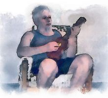 Self portrait playing ukulele. by Albert