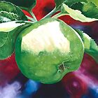 """Green Apples"" - large oil painting of an apple by James  Knowles"