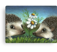 Hedgehogs on a date Canvas Print