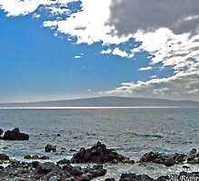 Lanai from Ahihi Beach, Maui by David Davies