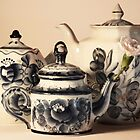 Three Blue Tea pots by Jay Reed