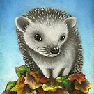 Little hedgehog on a big pile of leaves by tanyabond