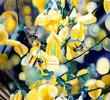 """The Lightness of Bee-ing"" - oil painting of bee's in the gorse bushes by James  Knowles"