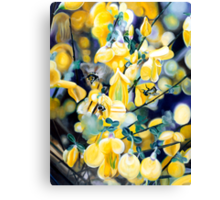 """The Lightness of Bee-ing"" - oil painting of bee's in the gorse bushes Canvas Print"
