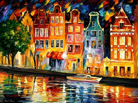 The Sky of Amsterdam - original oil painting on canvas by Leonid Afremov by Leonid  Afremov