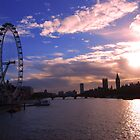 London Eye on a sunset by Marco Dall'Omo