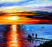 Fisishing With Friends - original oil painting on canvas by Leonid Afremov by Leonid  Afremov
